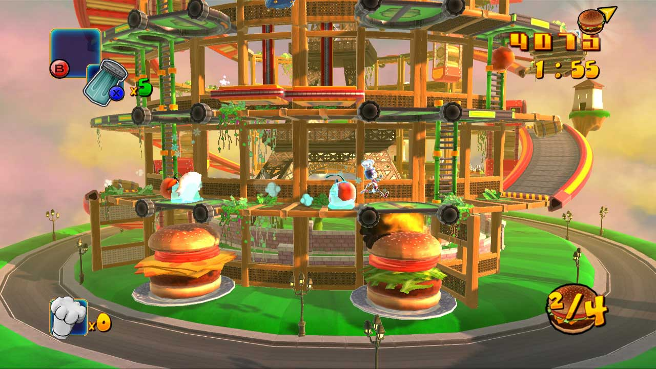 BurgerTime: World Tour, BurgerTime: World Tour Review, BurgerTime, Xbox 360, X360, Xbox, Playstation 3, PS3, Wii, Video Game, Game, Review, Reviews,
