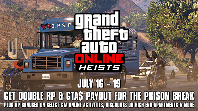 GTA Online Prison Break Heist DOUBLE SCORE WEEKEND