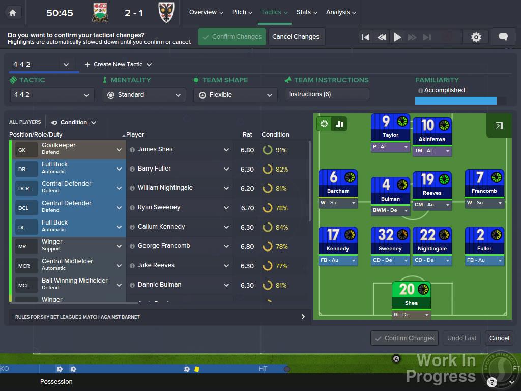 Football Manager 2016 Tactics Overview Improvements
